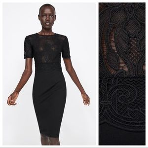 NWT. Zara Black Pencil Dress. Size L.